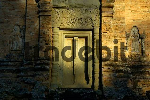 Seeming entrance Khmer temple of brick Bakong Roluos Group Angkor Siem Reap Cambodia