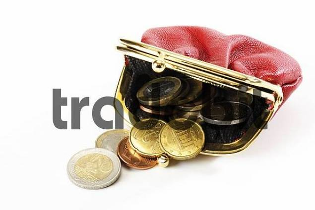 A red change purse filled with Euro coins