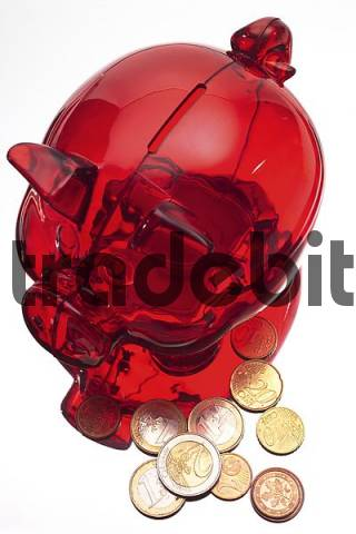 Red piggy bank with Euro coins