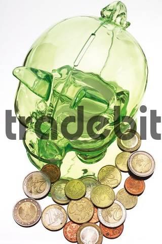 Green piggy bank with Euro coins