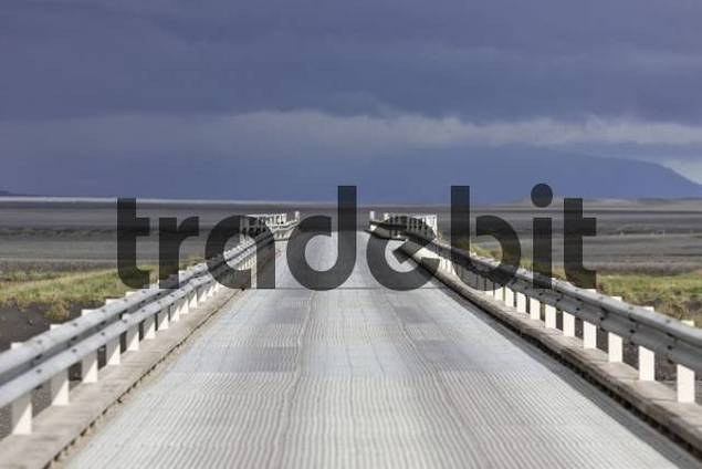 Bridge going over Skeiararsandur glacial outwash plain, southern coast of Iceland, Atlantic Ocean