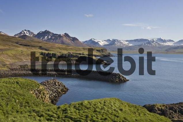 Borgarfjoerur fjord, Bakkageri, Iceland, Atlantic Ocean