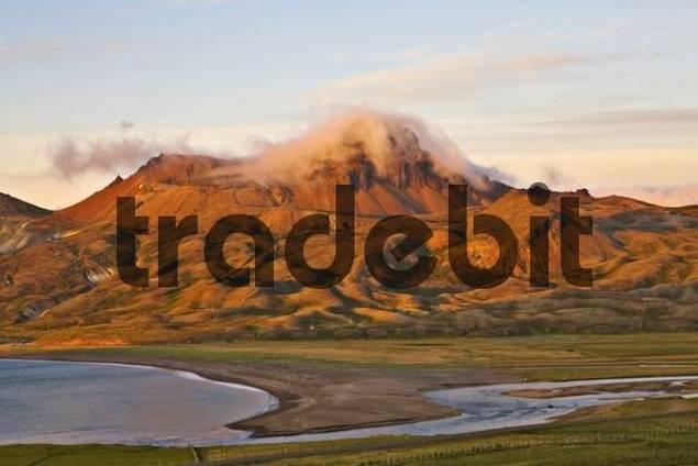 Mountains in the evening light, Bakkageri, Iceland, Atlantic Ocean