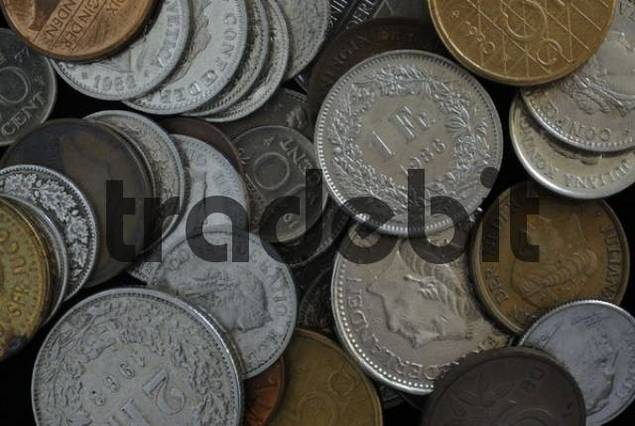 Various coins, image-filling
