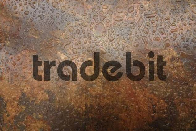 Raindrops on a mixed brown plastic surface