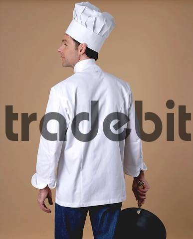 Chef holding wok