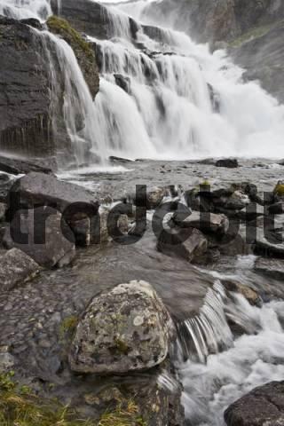 Waterfall, Aurlandsdalen, Norway, Scandinavia, Europe