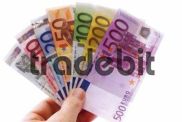 Hand holding Euro bills, fanned