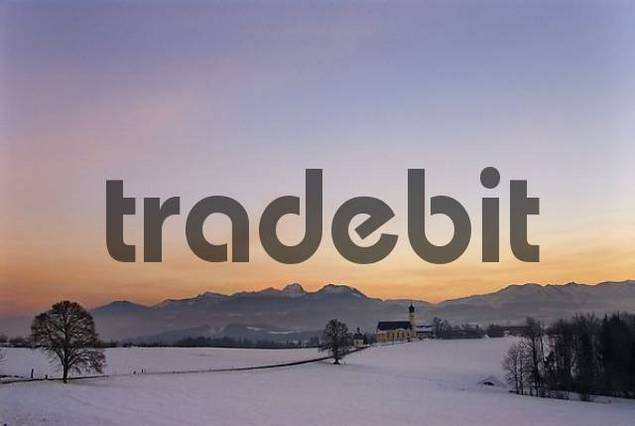pilgrimage church Wilparting after sunset in winter, Upper Bavaria, Germany