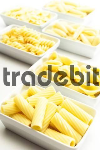 Small bowls of pasta, various kinds