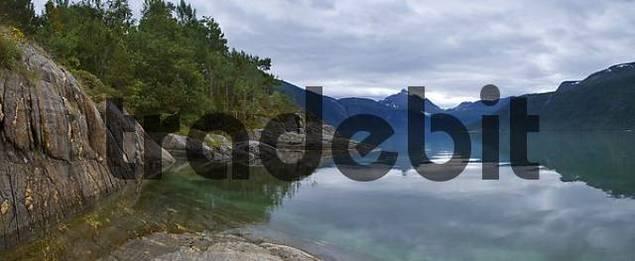 Landscape at Lang Fjord, Boggestranda, Mre og Romsdalen, Norway, Scandinavia, Europe