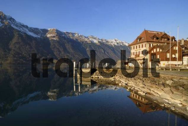 Iseltwald - the pier and the Strandhotel - Canton of Bern, Switzerland, Europe.