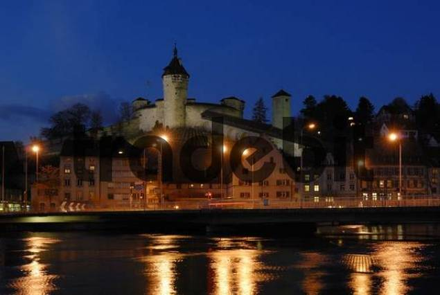 Schaffhausen - the old town and the Munot castle in the dusk - Switzerland, Europe.