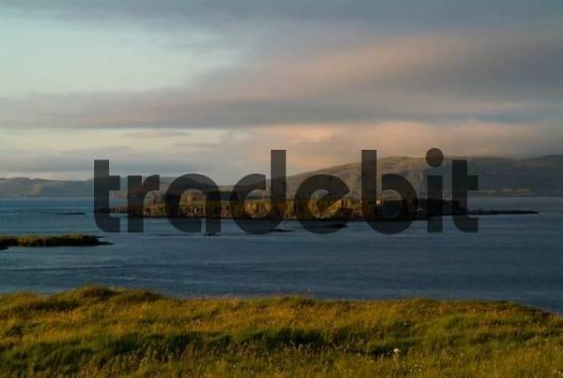 View of coast and the Isle of Mull seen from Lunga Island, Treshnish Isles, Scotland, UK, Europe