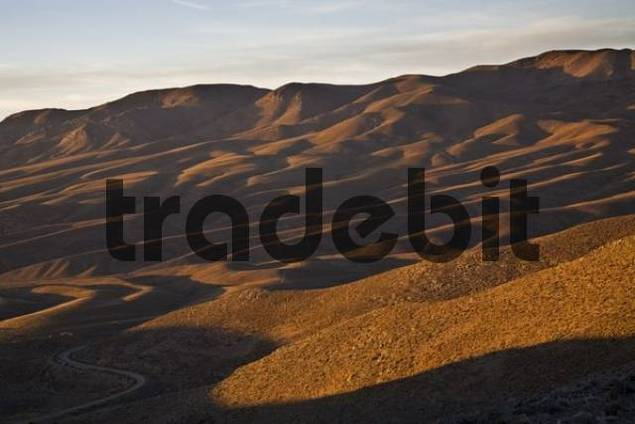 Hill landscape in the first morning light, Central Andes, Argentina, South America