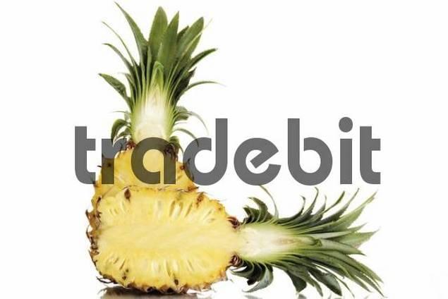 Pineapple Ananas comosus, halved
