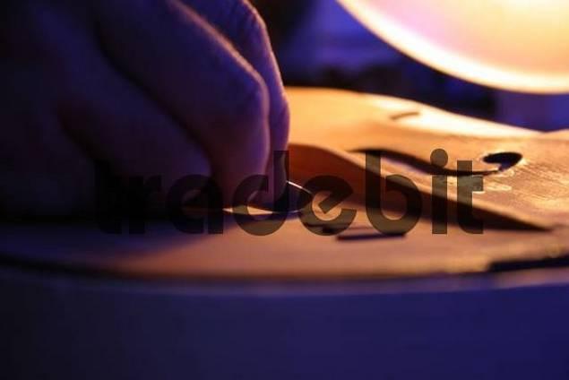 Violin-maker luthier repairing a violin