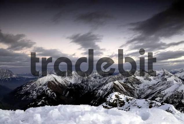 Allgaeu Alps in wintertime, Berwang, Tirol, Austria, Europe