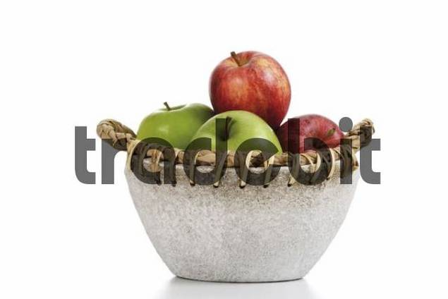 Apples in a stone bowl