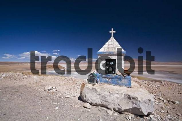 Chapel at a salt lake in the desert, Jama pass Paso de Jama, Argentina, South America