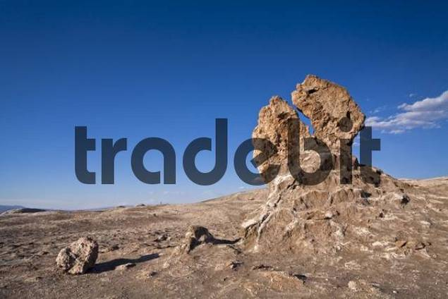 Desert landscape Valle de la Luna with bizarrely figures, consists of clay, sand and salt, Chile, South America