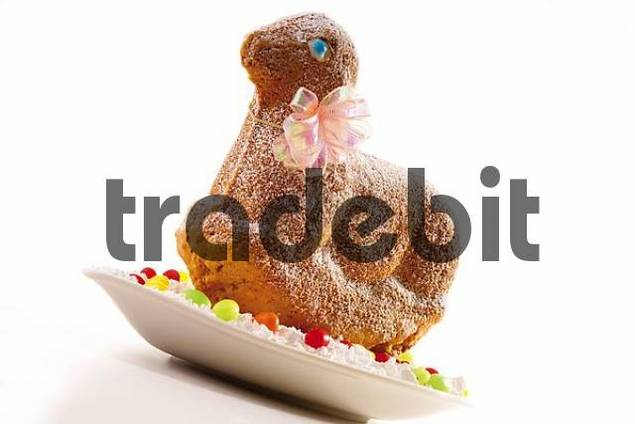 Easter lamb made of dough, sprinkled with icing sugar