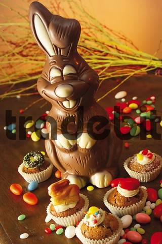 Chocolate Easter bunny and Easter muffins