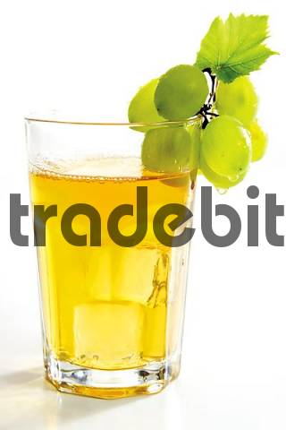 Grape juice garnished with green grapes