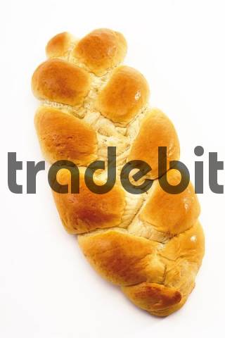 Leavened bread roll, braided