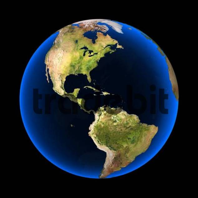 Globe Against A Black Background North And South America Visible - Globe elevation