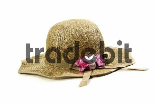 Straw hat, flower decoration