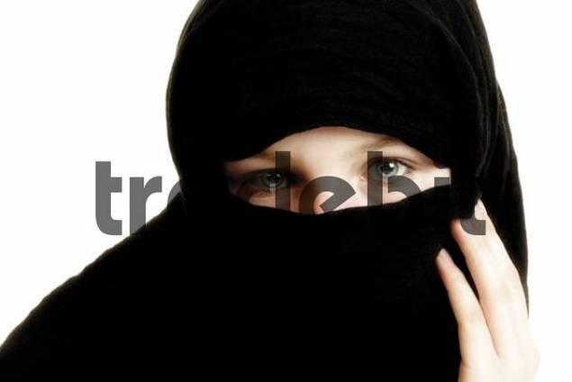 Girl, veiled in black