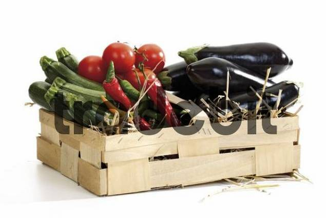 Basket of vegetables: zucchinis, hot peppers, tomatoes and aubergines on straw