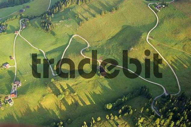 Hiking trail in meanders Valleés du Pays d Enhaut in the Bernese Oberland Aerial view Switzerland