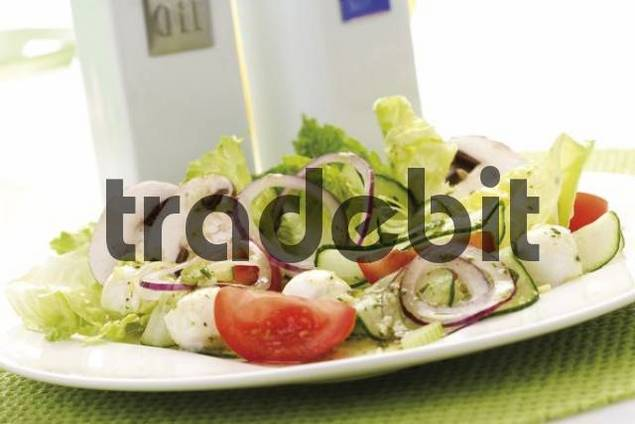 Salad: romaine lettuce, button mushrooms, tomatoes, onion rings, cucumber, mozzarella and dressing, cruet stand with oil and vinegar in background