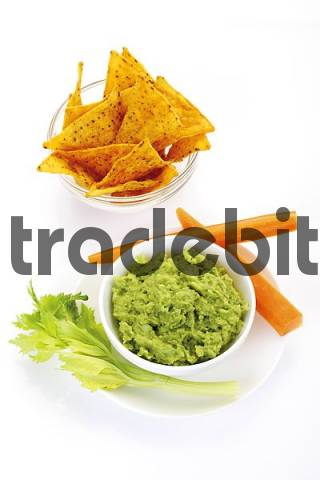 Nachos and avocado dip guacamole garnished with carrots and celery