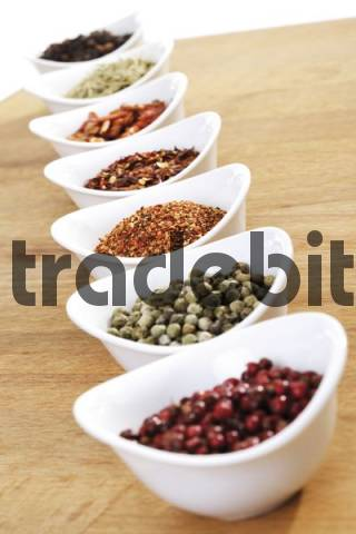 Bowls containing various kinds of pepper: pink pepper, green pepper, black pepper, seasoning mix and dried chili peppers