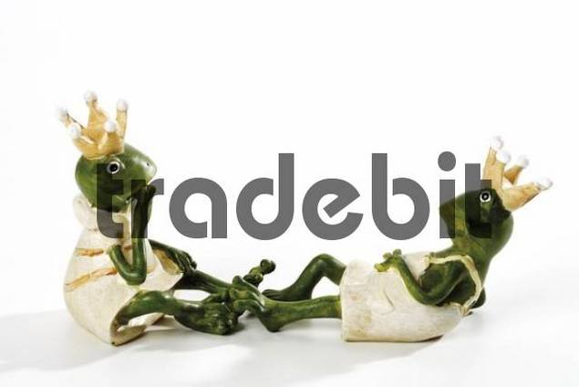 Figurines, frogs wearing crown, sitting, contemplating