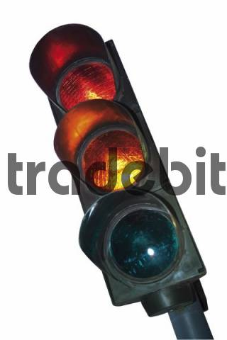 Traffic light, red switching to amber cutout