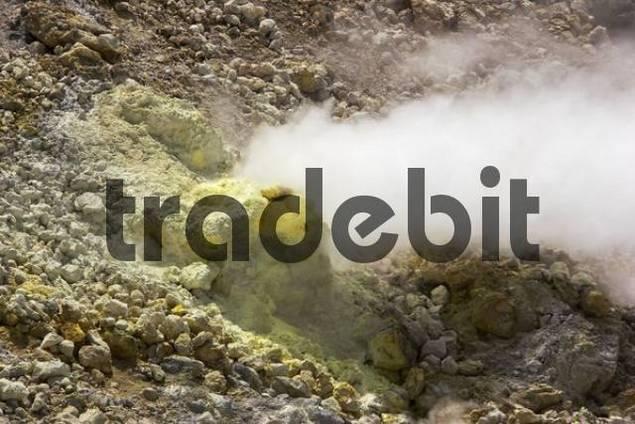 Sulphur steam rising from fumarole, White Island, Bay of Plenty, North Island, New Zealand, Oceania