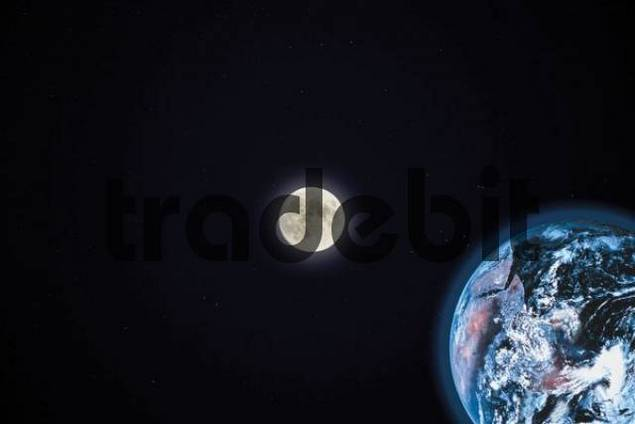 Earth and full moon seen from space - composing shot
