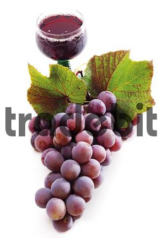 Red grapes with vine leaves and a glass of red wine
