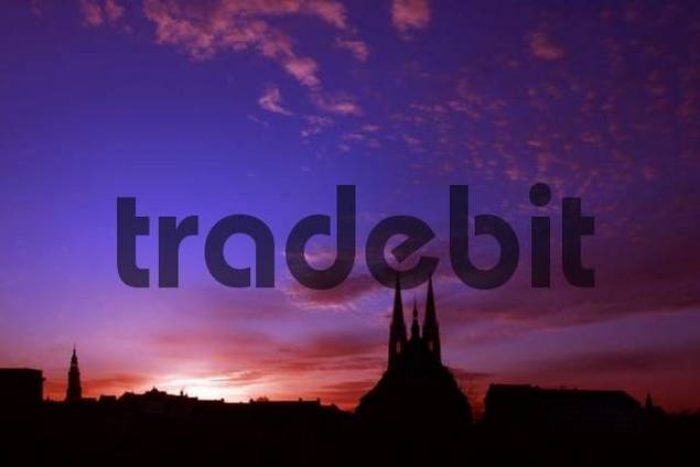 Town of Goerlitz silhouetted at dusk, Saxony, Germany, Europe