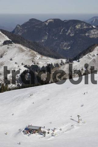 T-bar lift at Sudelfeld Ski Resort in a winter season of little snow, Bavarian Alps, Bavaria, Germany, Europe