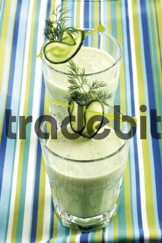 Cucumber cream soup served in glasses