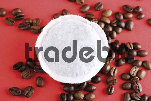Fresh coffee pod also pad and coffee beans