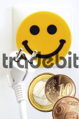 Smiley face electrical outlet and Euro coins: affordable electricity costs