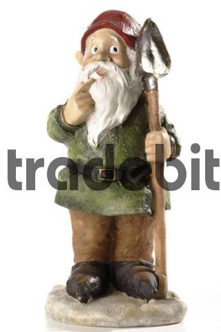 Garden gnome holding shovel