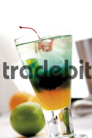 Shooter: Curacao Orange, Blue Curacao and Gin on ice, garnished with a maraschino cherry