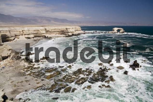 The coast and the natural arch La Portada, landmark from the town and the region Antofagasta, Chile, South America